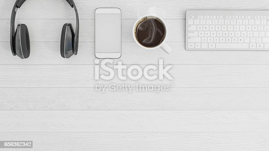 istock Knolling business desk top view template 656362342