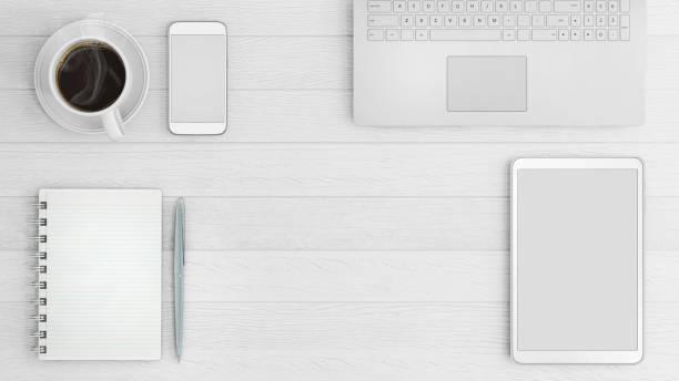 knolling business desk-draufsicht-vorlage - tastatur bilder stock-fotos und bilder