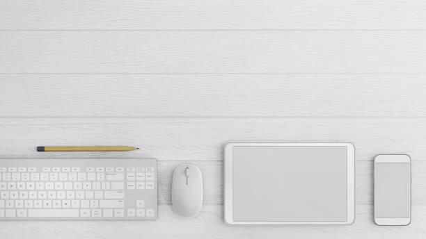knolling business desk draufsicht vorlage mit tablet - tablet mit displayinhalt stock-fotos und bilder