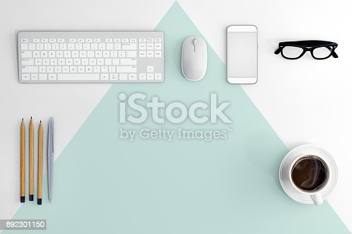 615494694 istock photo Knolling business desk view with computer equipment 892301150