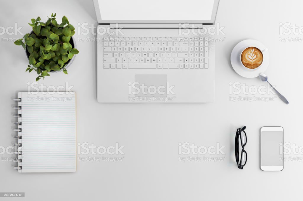 Knolling business desk view with laptop stock photo