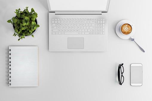 Knolling Business Desk View With Laptop — стоковые фотографии и другие картинки Без людей