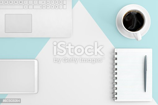 615494694 istock photo Knolling business desk view with laptop 892303054