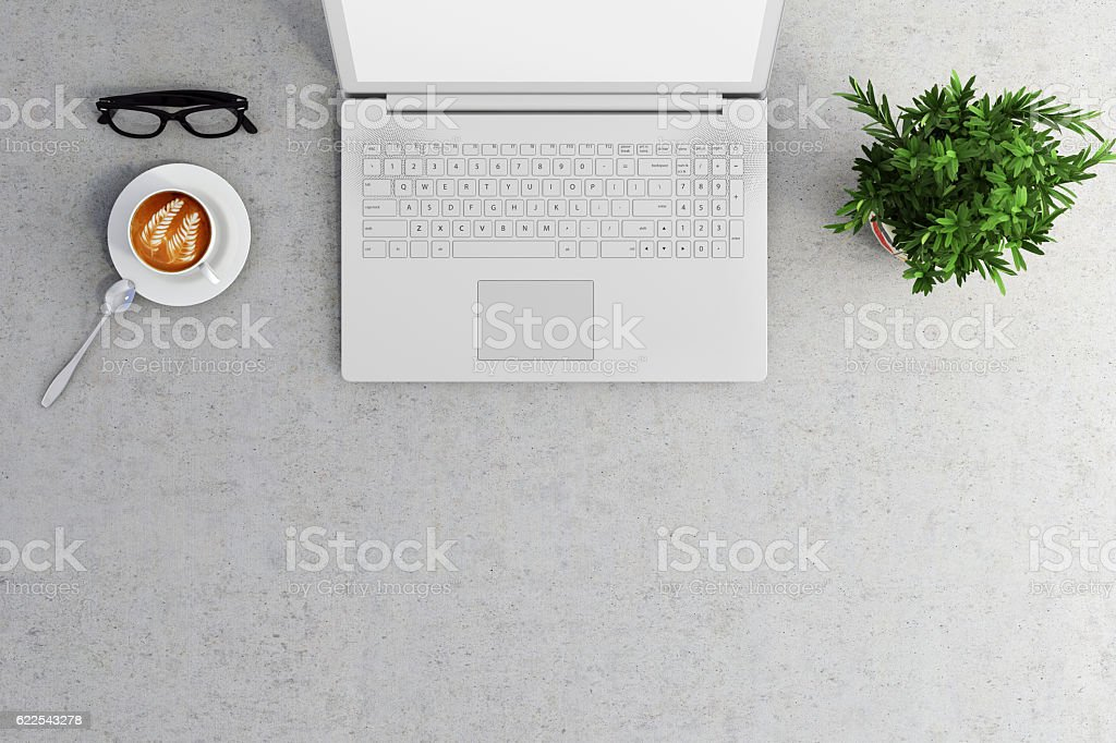 Knolling office desk view stock photo