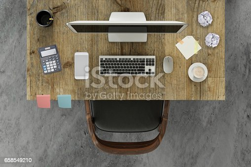 business office setup, template top view of a desk with a chair, pc computer monitor with a keyboard, smartphone, mouse, and a coffee, papers and sticky notes. horizontal composition. no people