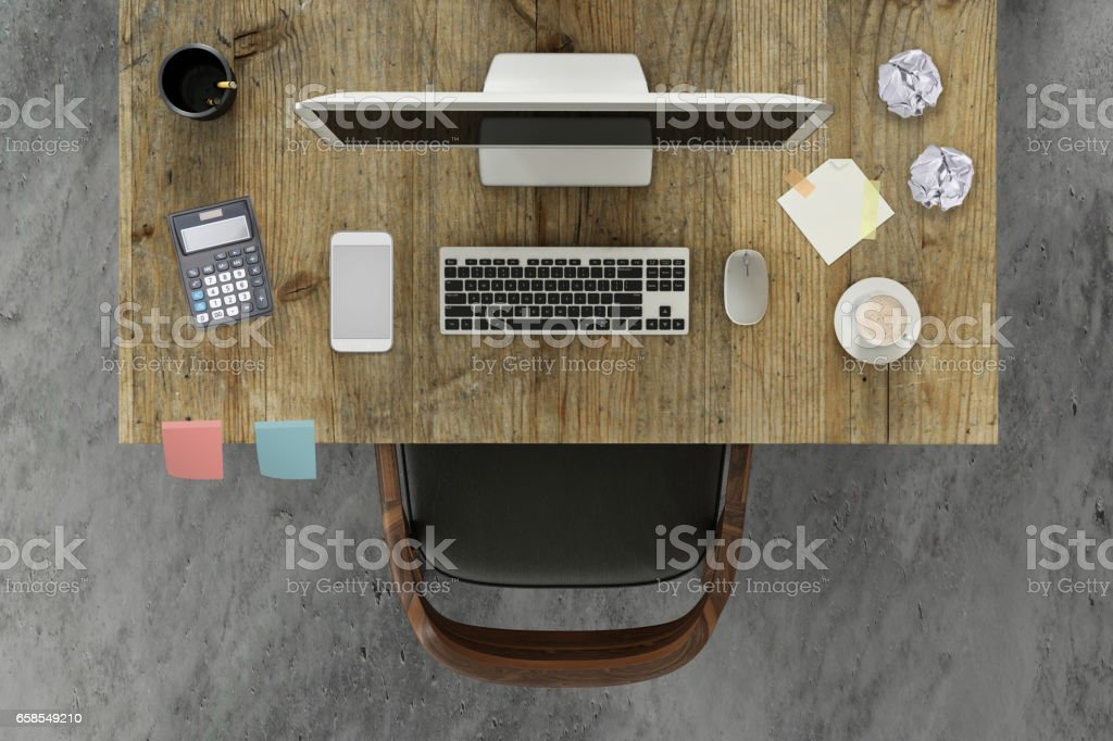 knolling scene business desk with a pc monitor and a chair stock photo