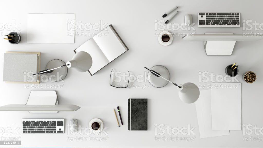 Knolling team work business desk view stock photo