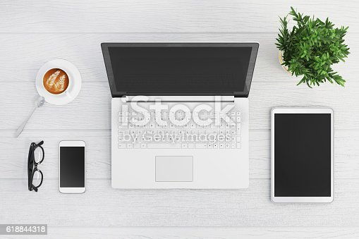 istock Knolling top view of a laptop 618844318