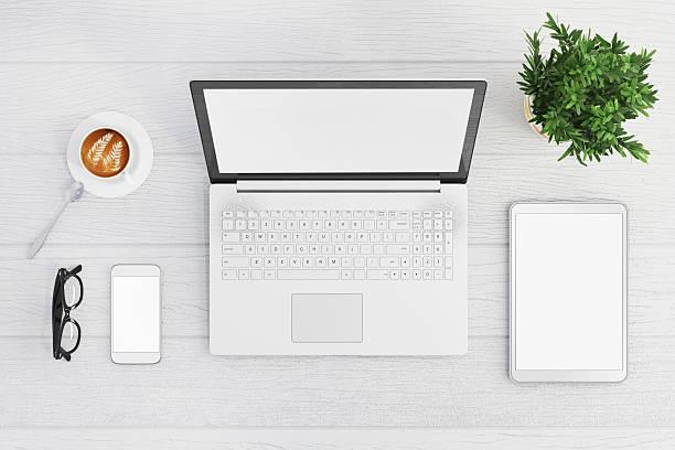 knolling top view of a laptop - tablet mit displayinhalt stock-fotos und bilder