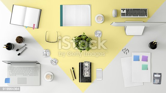 1060760900istockphoto Knolling top view of a team office table 919964364