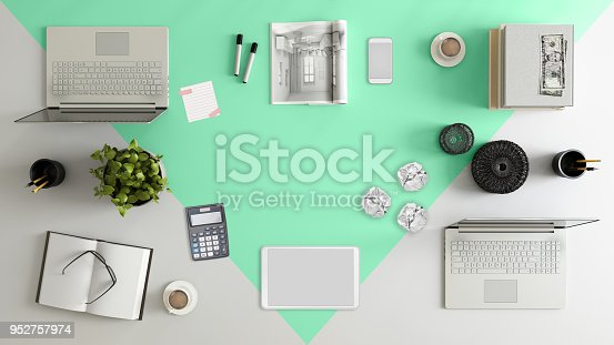 istock Knolling top view of a team office table 952757974