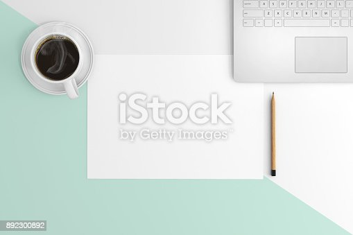 615494694 istock photo Knolling view, white blank paper on a desk template 892300892