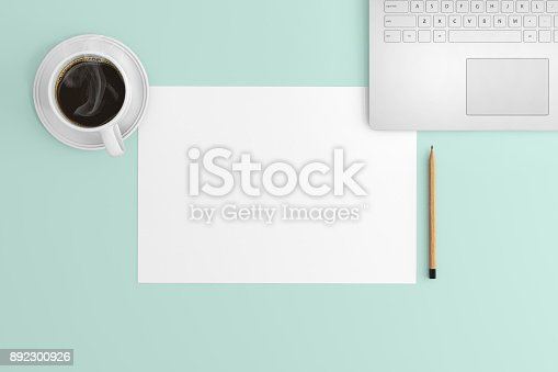 615494694 istock photo Knolling view, white blank paper on a desk template 892300926