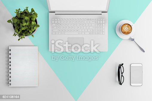 istock Knolling work table view with a laptop 624108164