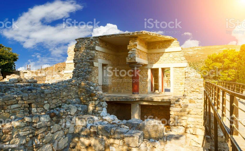 Knossos Minoan Palace in Crete, Greece stock photo