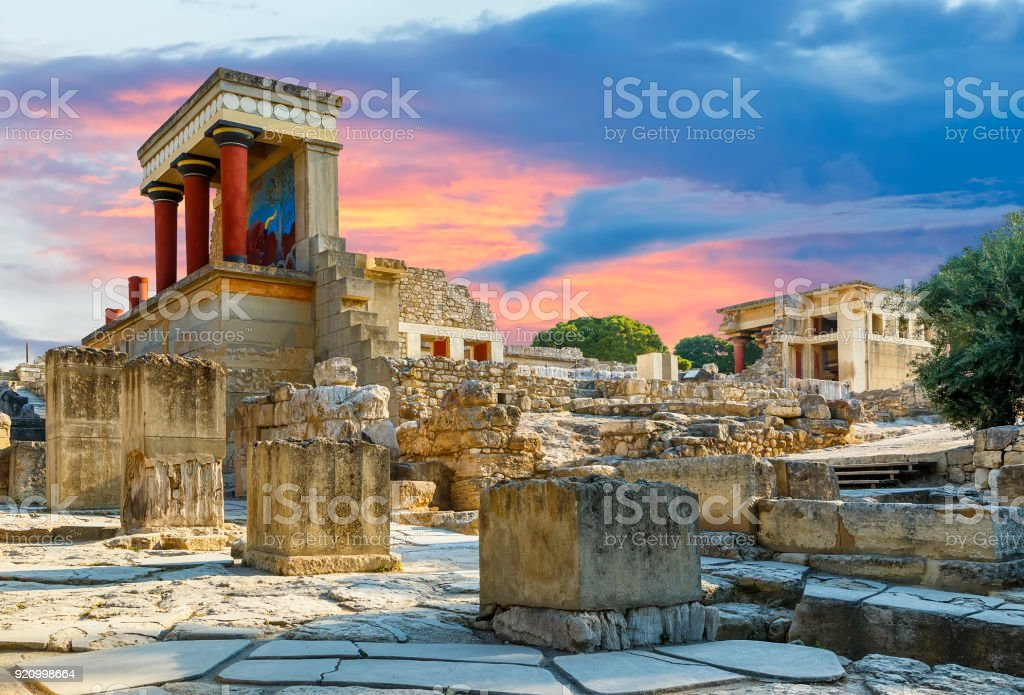 Knossos palace at Crete, Greece Knossos Palace, is the largest Bronze Age archaeological site on Crete and the ceremonial and political centre of the Minoan civilization and culture. stock photo