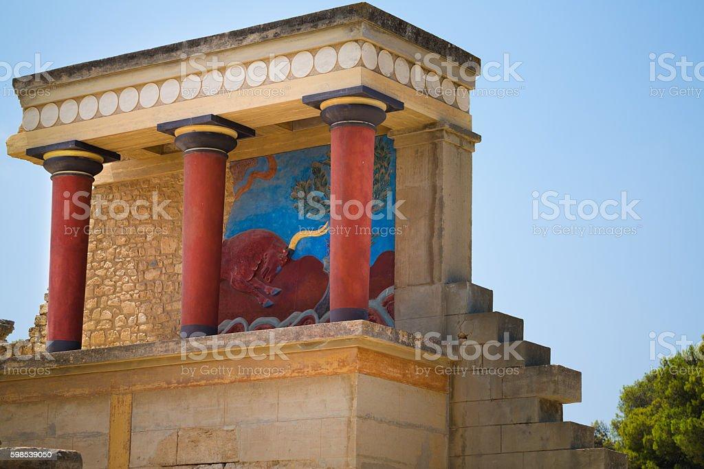 Knossos palace, centre of Minoan civilization at Crete, Greece. stock photo