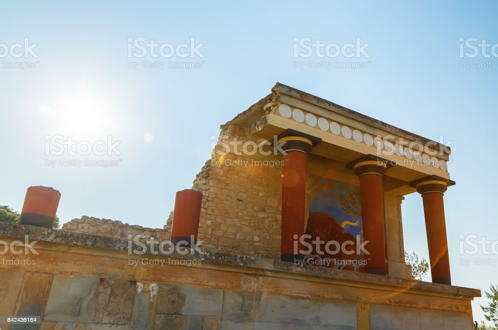 Knossos Palace ruin with sun background and sunny day backlight, Greece, Crete stock photo