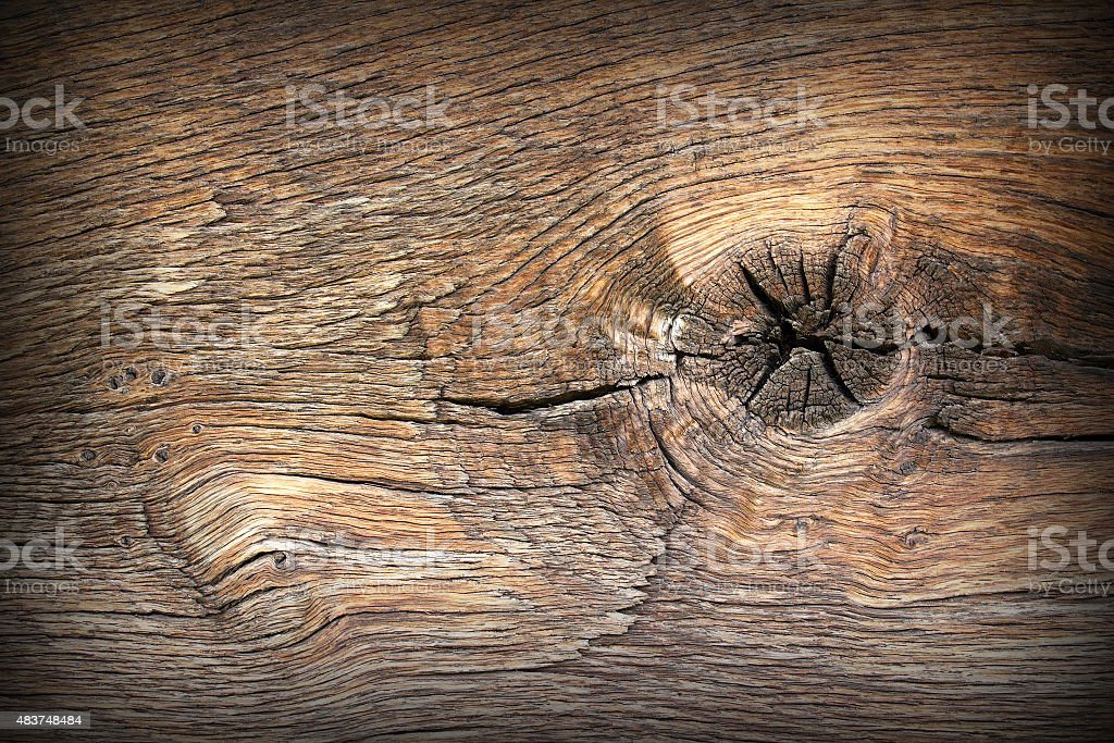 knot on ancient wood plank stock photo