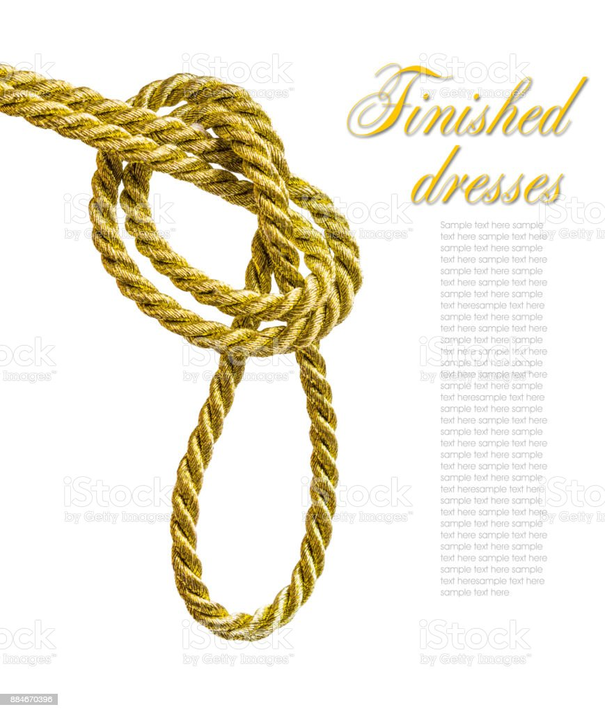 Knot tied to a golden cord stock photo