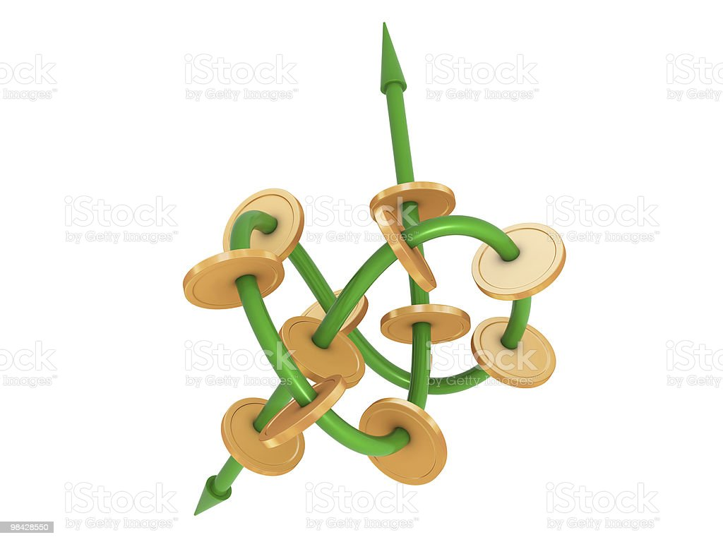 Knot with arrows and coins royalty-free stock photo