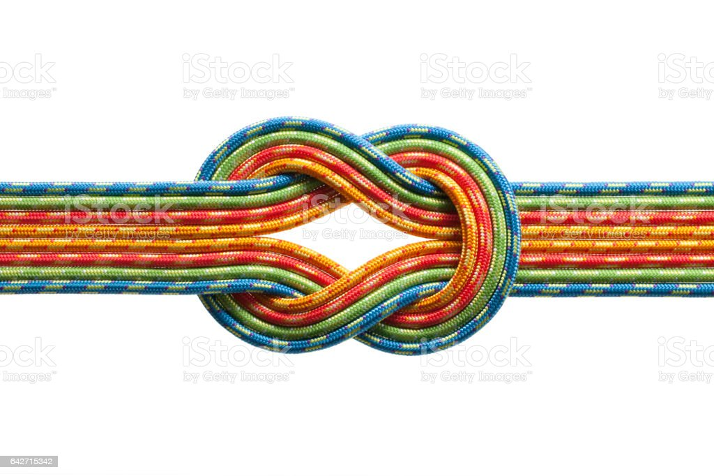 Knot with eight ropes like a road junction stock photo