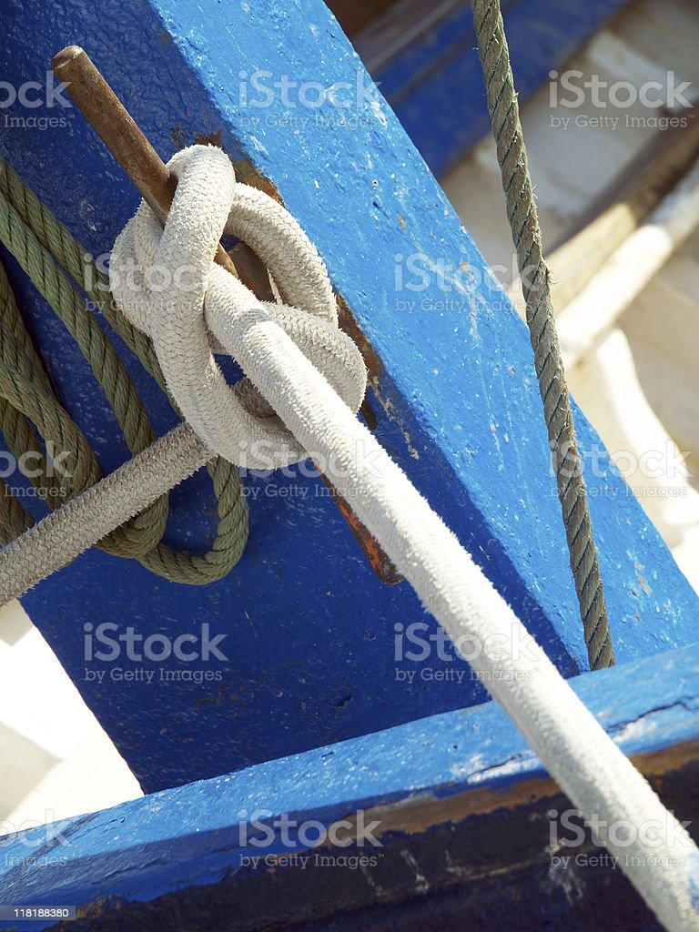 Knots and ropes in a Boat royalty-free stock photo