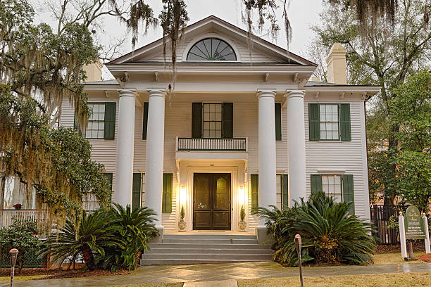 Knott House Museum in Tallahassee, Florida Tallahassee, Florida, USA - January 16, 2015 : Knott House Museum located in the Park Avenue Historic District in Tallahassee, Florida. revival stock pictures, royalty-free photos & images