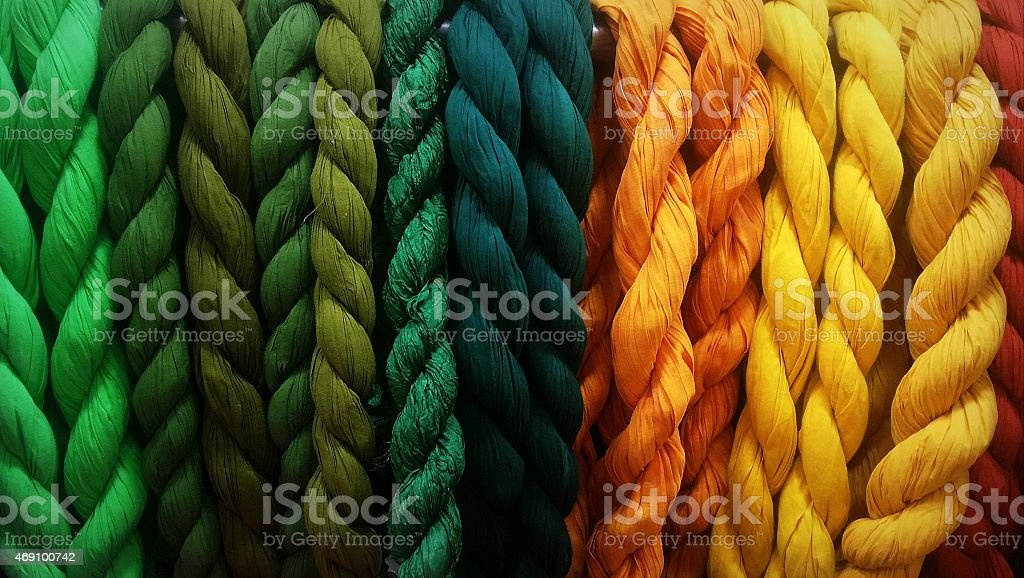Knotted dupattas(handwoven stoles) from India stock photo
