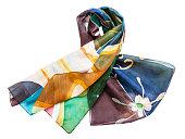 分離された結び目手塗られたバティック シルク スカーフ