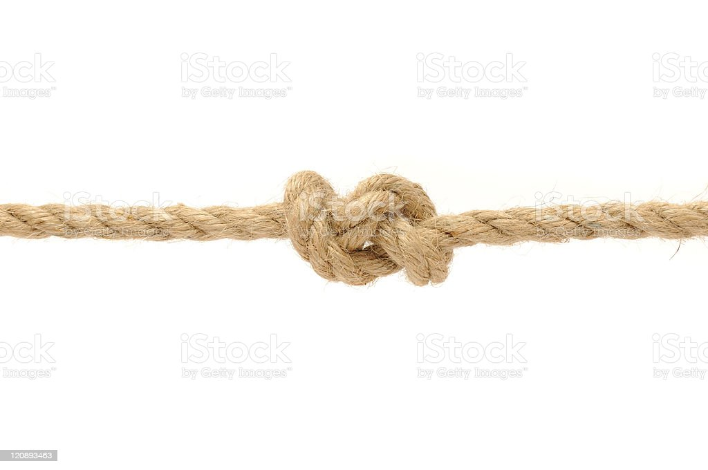 Knotted rope isolated on white stock photo