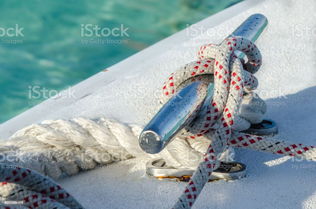 Knotted Rope on a Yacht stock photo