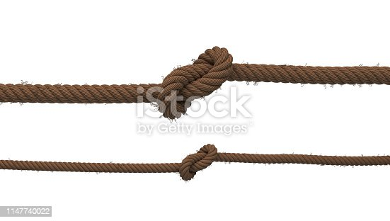 Knotted Rope on isolated White Color Background with Clipping Path
