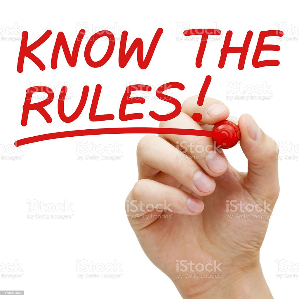 Know The Rules stock photo