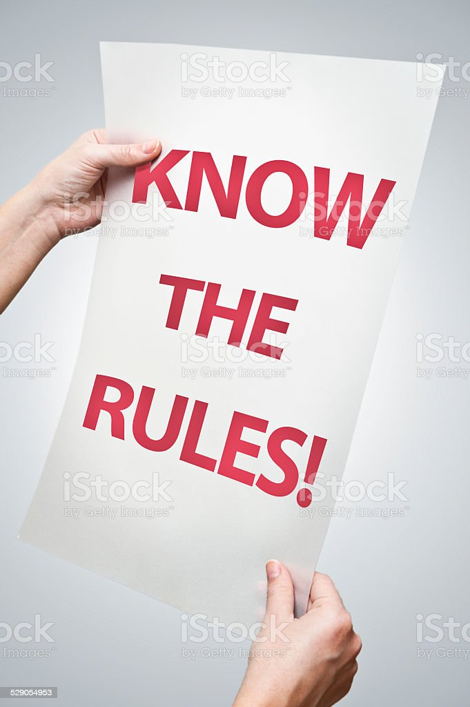 Know the rules! (Click for more) stock photo