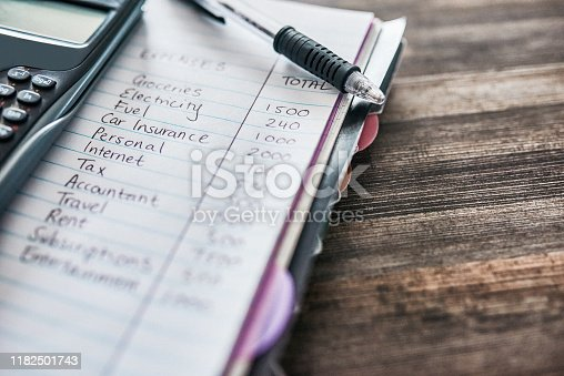 Shot of a notebook with a budget written on it and a calculator on a desk at home