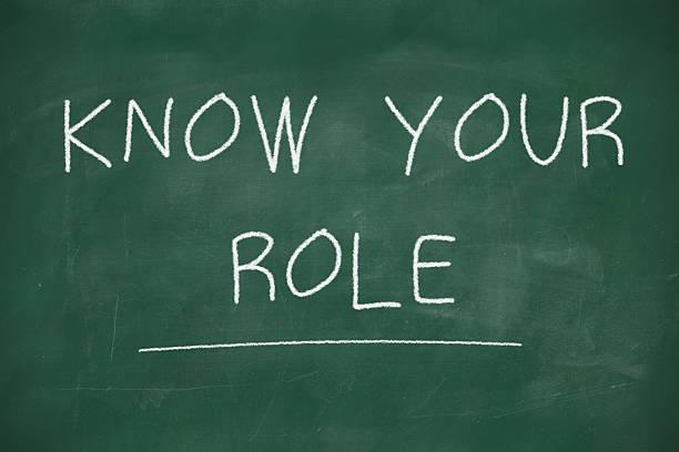 know your role handwritten on blackboard - sosyal rol stok fotoğraflar ve resimler