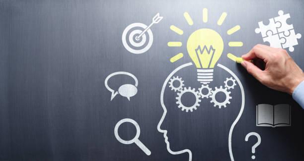 kunskap och inspiration. - brain magnifying bildbanksfoton och bilder