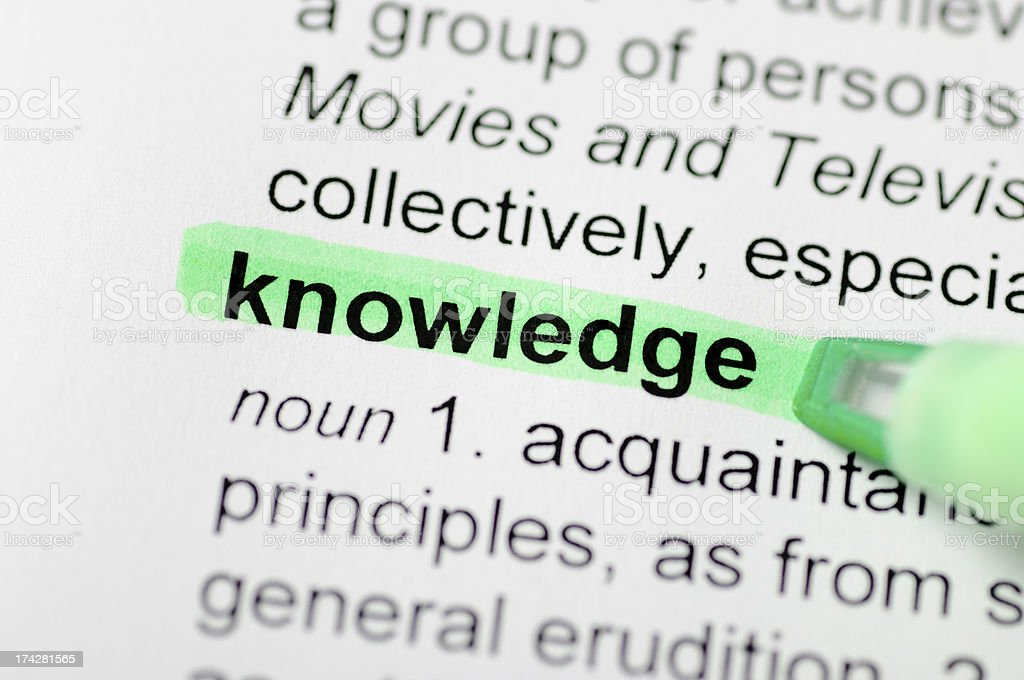 Knowledge highlighted in dictionary royalty-free stock photo