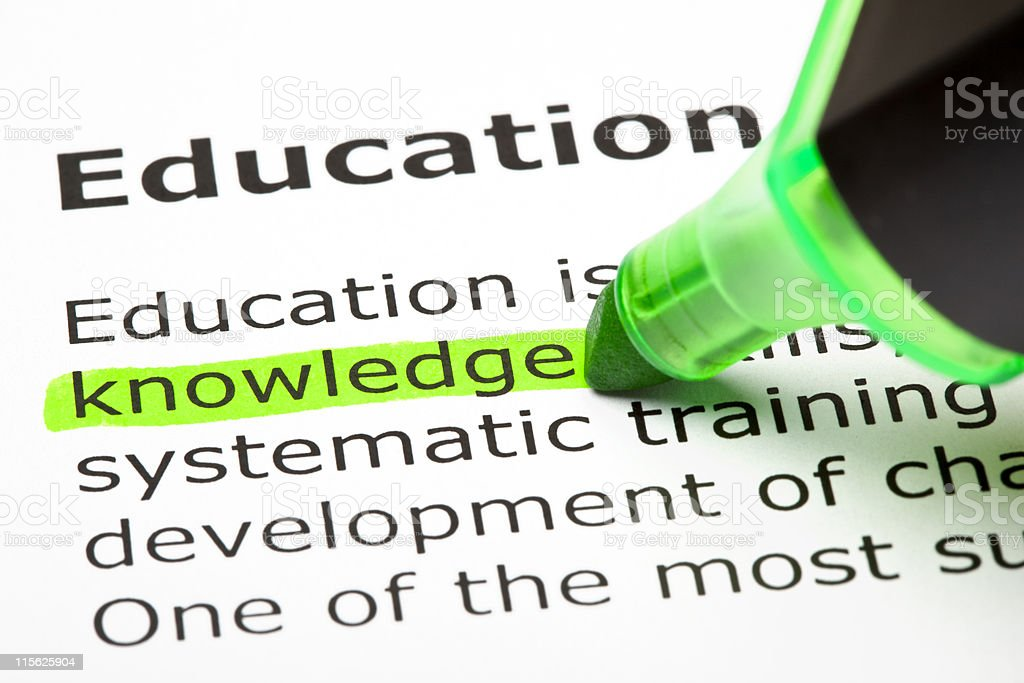 Knowledge highlighted in green stock photo