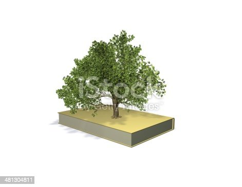 istock knowledge, intelligence 3d concept with book and tree 481304811