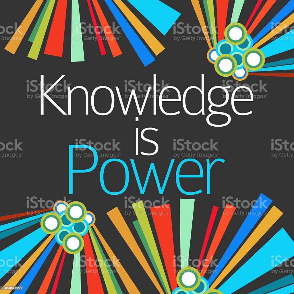 Knowledge Is Power Dark Colorful Elements stock photo