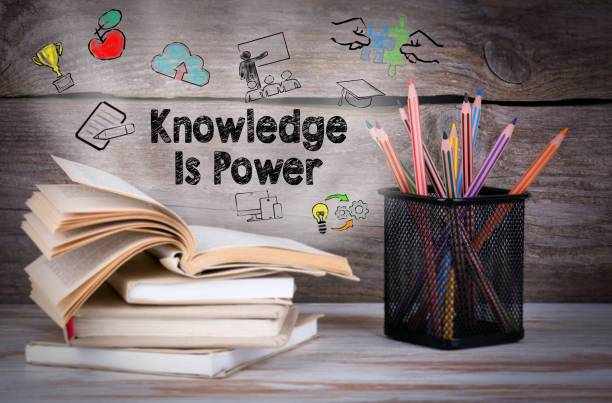 Knowledge is power. Stack of books and pencils on the wooden table. – zdjęcie