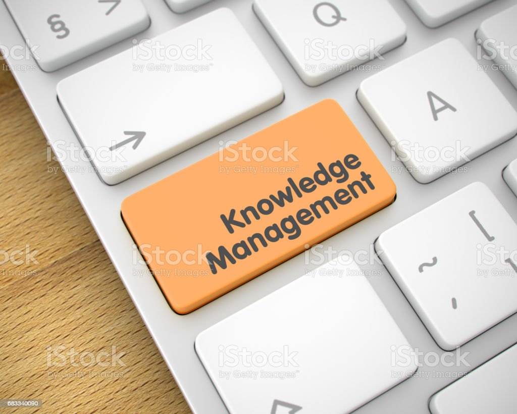 Knowledge Management - Text on the Orange Keyboard Button. 3D stock photo