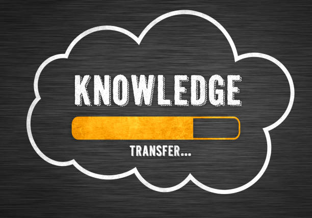 Knowledge Transfer - chalkboard message stock photo