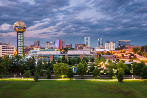 Knoxville Tennessee At Dusk Under Cloudy Sky Stock Photo - Download Image Now