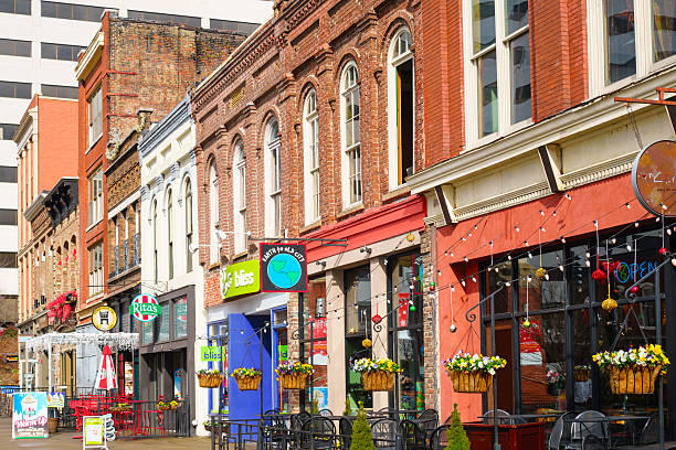 Knoxville Tennessee Downtown Restaurants and Bars on Market Square Photo of colorful restaurants, bars and businesses on Market Square in downtown Knoxville, Tennessee, USA. tennessee stock pictures, royalty-free photos & images