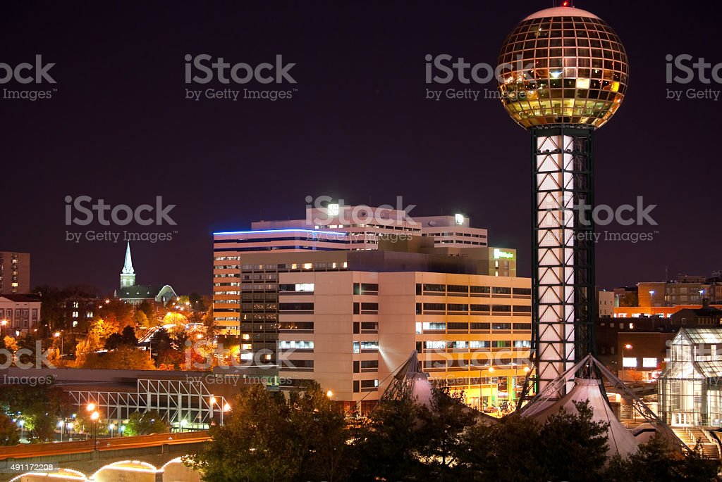 Knoxville, Tennessee Skyline at night stock photo