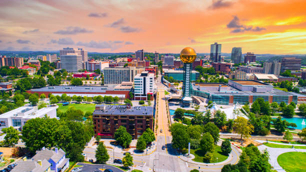 Knoxville, Tennessee, TN Downtown Drone Skyline Aerial Knoxville, Tennessee, TN Downtown Drone Skyline Aerial. tennessee river stock pictures, royalty-free photos & images
