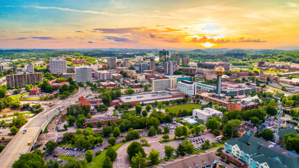 Knoxville, Tennessee, USA Downtown Skyline Aerial Knoxville, Tennessee, USA Downtown Skyline Aerial. tennessee stock pictures, royalty-free photos & images